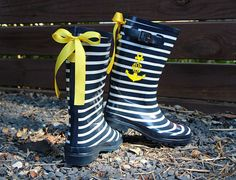 Nautical Navy Stripe Rain Boots with Custom by PuddlesNRainBows, LOVE! Pinned by https://www.etsy.com/shop/CakeStandLady