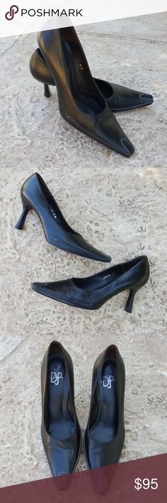 """Donald J. Pliner Black Heels Pumps Many 8 Gorgeous black leather heels from Dobald J. Pliner in a size 8. Style name is Many. Contrast stitching on toes and base of front. Heels measure 2.5"""". In fabulous condition, wear seen on soles only.  Made in Spain. Donald J. Pliner Shoes Heels"""