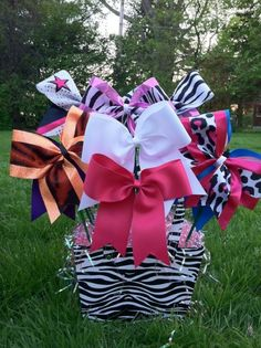 Cute gift idea! Bow basket. What girl wouldn't love one of these?!?