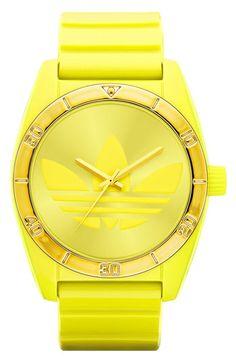 yellow.quenalbertini: Adidas Originals 'Santiago' Silicone Strap Watch