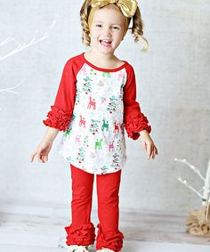 Take a look at this Red Deer Ruffle Raglan Tee & Pants Set - Infant, Toddler & Girls today!