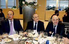 Rafa Benitez wore a suit sitting with president Florentino Perez, and the club's basketball coach Pablo Laso