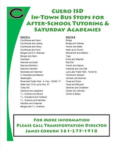 School Transportation Available for After-School Tutoring and Saturday Academies