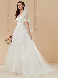 Ball Gown Plunging Neckline Sweep / Brush Train Lace Satin Tulle Wedding Dress with Appliques Ruffles by LAN TING BRIDE® - USD $199.99 ! HOT Product! A hot product at an incredible low price is now on sale! Come check it out along with other items like this. Get great discounts, earn Rewards and much more each time you shop with us!