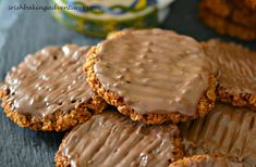 These yummy homemade hobnob biscuits are made with wholemeal flour & taste even better then shop ones. Simple to make they are ready in less than 20 mins Chocolate Treats, Homemade Chocolate, Hobnob Biscuits, Chocolate Hobnobs, Baking Recipes, Snack Recipes, Cake Recipes, Salad Recipes, Crack Crackers