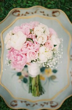 {Bridal Bouquet Of Pink Peonies, Pink Roses, White Peonies, White Roses, & White Gypsophila}