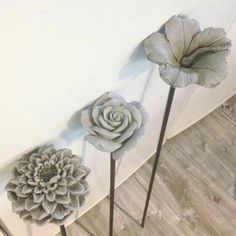 Concrete flowers - one method (painting concrete on silk petals)
