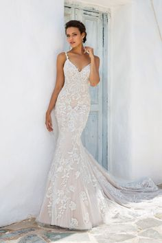 Justin Alexander Fit and Flare Gown with Beaded Lace Appliqués and Keyhole Back