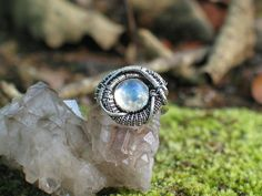 Heady Wire Wrap Ring Rainbow Moonstone Sterling Silver by PeacebirdStudio