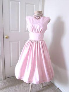 Pretty Pink Shantung Vintage Style Dress by TenderLane on Etsy, $165.00