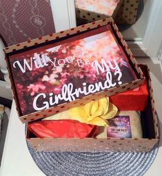 Looking for a cute way to ask her to be your girlfriend? Order a youarebeautifulbox custom care package for every occasion Will You Be My Girlfriend, Presents For Girlfriend, Christmas Gifts For Girlfriend, Birthday Gifts For Girlfriend, Girlfriend Gift, Asking A Girl Out, Asking Someone Out, Girlfriend Proposal, Gift Card Presentation