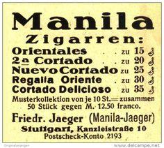 Original-Werbung/ Anzeige 1930 - MANILA ZIGARREN / JAEGER STUTTGART  - ca 45 x 40 mm