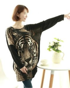 b94106b7cde68 Cool tiger animal long t shirt for women wear in spring and autumn Pet  Tiger