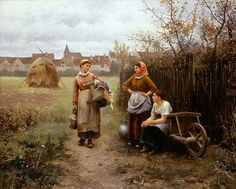 Going To The Washhouse~ Daniel Ridgeway Knight