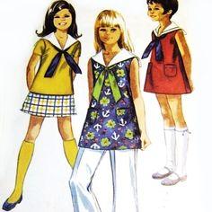 Girls Dress Tunic Pants Sailor Collar w Tie 1960s Pattern A line