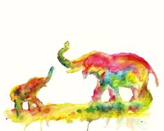 Mother and Baby Elephant ART PRINT of colorful by RuthOosterman