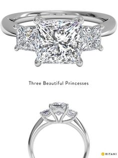 Absolutley love this ring!! Three-Stone Princess Cut Engagement Ring with Princess Side Diamonds in White Gold