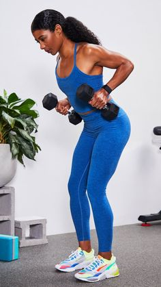 Back Of Arm Exercises, Neck Exercises, Dumbbell Workout At Home, Dumbbell Set, Weight Training Workouts, Running Workouts, Exercise Workouts, Interval Training, Jogging In Place