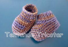 Tentando Tricotar: Sapatinho de bebê colorido