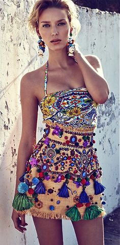 Gypsy Embellished Tassel Skirt for a boho chic tribal ethnic allure. FOLLOW http://www.pinterest.com/happygolicky/the-best-boho-chic-fashion-bohemian-jewelry-gypsy-/ for the BEST Bohemian fashion trends in clothing & jewelry.