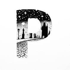 "Slow Lorris (@slow_lorris_t) on Instagram: ""#blackandwhite #art #abc #font #p #prague #praha #czech #city #karlbridge #landscape #history #town…"""