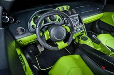 lamborghini lime green and black interior