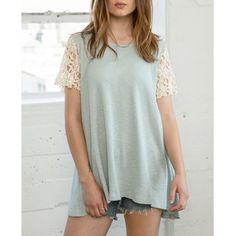 Crochet Sleeve Top Mint crochet sleeve top. Runs loose. Brand new. NO TRADES. Bare Anthology Tops Tees - Short Sleeve