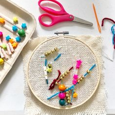 Embroidery for Kids: Simple Stitching & Beading with Burlap Sewing Projects For Kids, Arts And Crafts Projects, Sewing For Kids, Diy Crafts For Kids, Craft Ideas, Painting For Kids, Art For Kids, Ocean Theme Crafts, Simple Embroidery