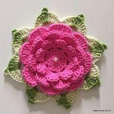 Flor Rosa rasteira passo a passo (121)