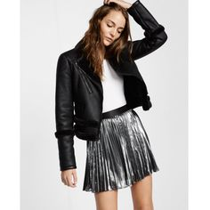 Express Metallic Pleated Mini Skirt ($88) ❤ liked on Polyvore featuring skirts, mini skirts, silver, straight skirts, metallic skirt, pleated mini skirt, elastic waist skirt and pleated miniskirt