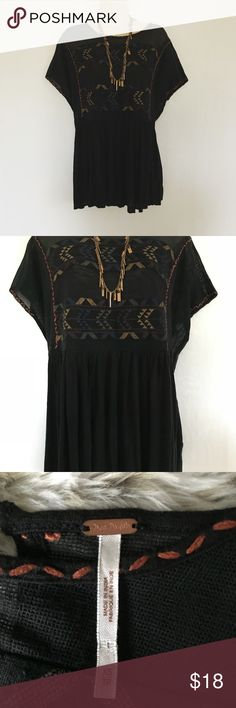 Free People Tribal Boho Mesh Top Excellent condition. Size XS but can fit up to a medium. Great with leggings or jeans. Hip and comfy boho look. Free People Tops Blouses
