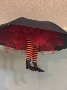 Umbrella witches legs Halloween decor witches legs Halloween decorations wicked witch Spooky decor Halloween party decor USD) by PeavyPieces Entree Halloween, Halloween Mural, Diy Halloween Party, Easy Halloween Decorations, Easy Halloween Crafts, Halloween Scene, Spooky Decor, Outdoor Halloween, Scary Halloween