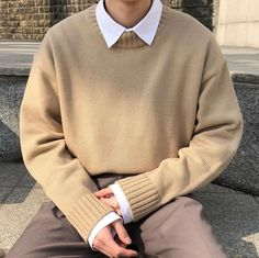 Style Outfits, Indie Outfits, Retro Outfits, Boy Outfits, Vintage Outfits, Mens Sweater Outfits, Mens Fashion Sweaters, Korean Outfits, Men Sweater
