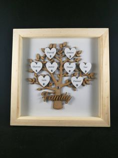 Excited to share the latest addition to our #etsy shop: Personalised Family Tree Frame/Mother's Day/Grandchildren/Family Gift http://etsy.me/2BZdIeh  #white #frame #memory #box #gift #hearts #home