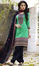 Parrot Green Color Shade Cotton Patiala Dress