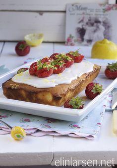 Saftig sitronkake med ferske jordbær