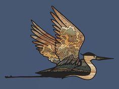 Illustrator Baylie Peplow. part of the new 2017 calendar, $18.00   #calendar #heron #blue #bird #sky #texture #woodgrain #gift #buyearly #wings #fly #illustration