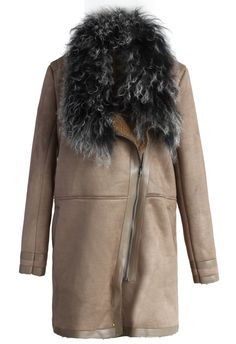 Shearling Wool Collar Matted Coat// faux leather finish and faux fur neckline//