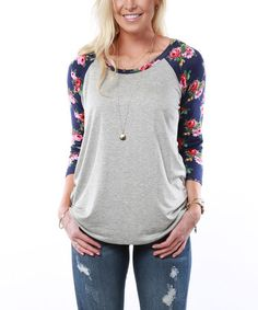 This Heather Gray & Navy Floral Raglan Tunic is perfect! #zulilyfinds