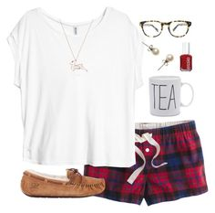 """Merry Christmas! (:"" by classically-preppy ❤ liked on Polyvore featuring J.Crew, H&M, UGG Australia, Essie, Warby Parker and Hillier London"
