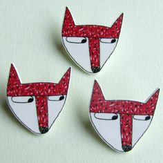 Fox - Small Illustrated Pin Badge by Debbie Greenaway