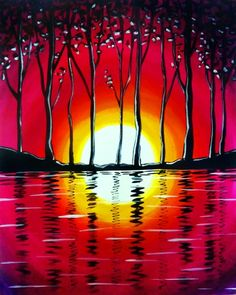 Red sunset water reflections and trees beginner canvas painting. Paint Nite.