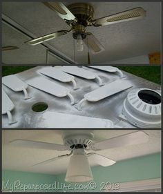 How to update a ceiling fan with spray paint !