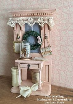 Miniature French Provencal Hall Table, Dollhouse Foyer, Miniature Hall Stand #dollhouseaccessories Miniature French Provencal Hall Table Dollhouse Foyer | Etsy Miniature Furniture, Dollhouse Furniture, Furniture Making, Foyer Mirror, Entry Foyer, Dolls House Shop, Hall Stand, Doll House Crafts, Paper Rosettes