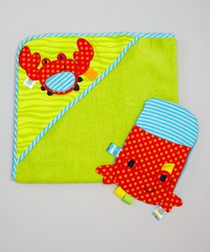 Another great find on #zulily! Green Crab Terry Hooded Towel & Bath Mitt #zulilyfinds