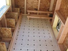 """Linoleum flooring inside of chicken coop- that would be """"cheep"""" to do and easy to keep clean #chickencoopdiy #chickencoopplans"""