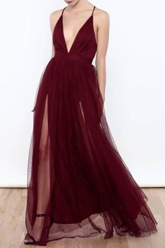 Sexy Deep V Neck Tulle Maxi Dress, Tulle Prom Dress, High Slit Prom Dress, Backless Prom Dress, Criss-cross Back Prom Evening Dress by prom dresses, $99.00 USD