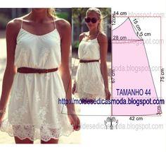 Passo a passo construção molde de vestido. O molde encontra-se no tamanho 44. A ilustração do molde de vestido não tem valor de costura.