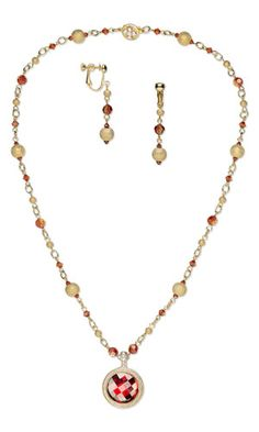 """Single-Strand Necklace and Earring Set with SWAROVSKI ELEMENTS, Gold-Plated Brass Stardust Beads and Gold-Finished """"Pewter"""" and Swarovski Crystal Pendant"""