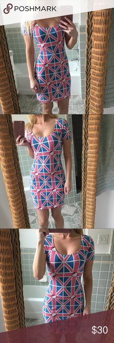 """🇬🇧 Hello Kitty Union Jack dress 🇬🇧 Used only a few times.  Size small.  Good condition.  Hello kitty Union Jack dress.  I am 5' 2"""" for reference. Hello Kitty Dresses Midi"""